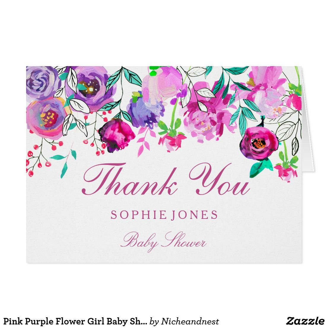 Pink Purple Flower Girl Baby Shower Thank You Card | Baby Shower ...