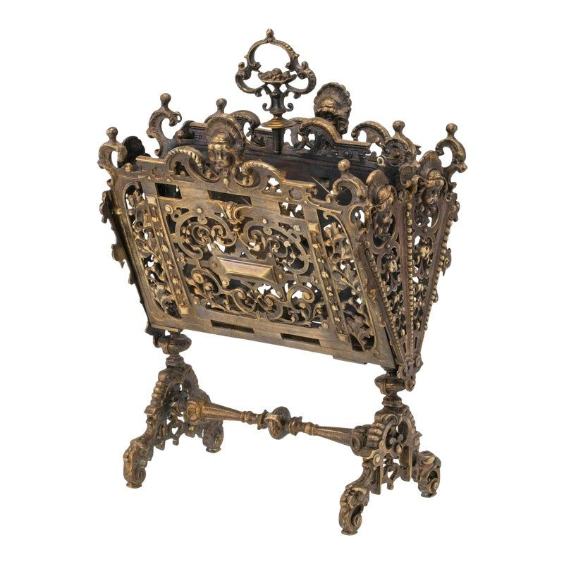 C.1890,  French gilt bronze letter holder. Superbly detailed,  cast bronze pierced work. Decorative theme in lovely female faces. Divided compartments with finial handle. Wonderful accent accessory for your desk.