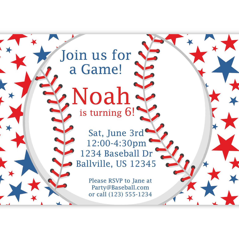 Baseball Invitation - Red, White and Blue Star Baseball ...