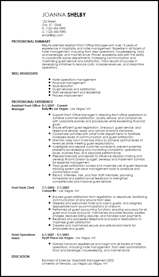 Resume Templates Hospitality 4 Templates Example Templates Example Resume Templates Resume Template Resume Template Free