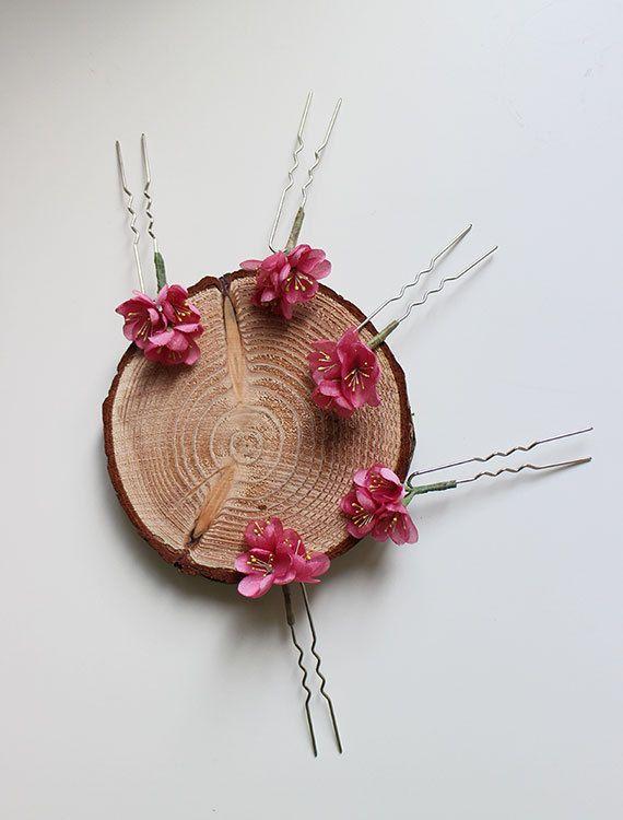 Peach blossom hair pinbridal headpiecesilk wedding by mellowdear
