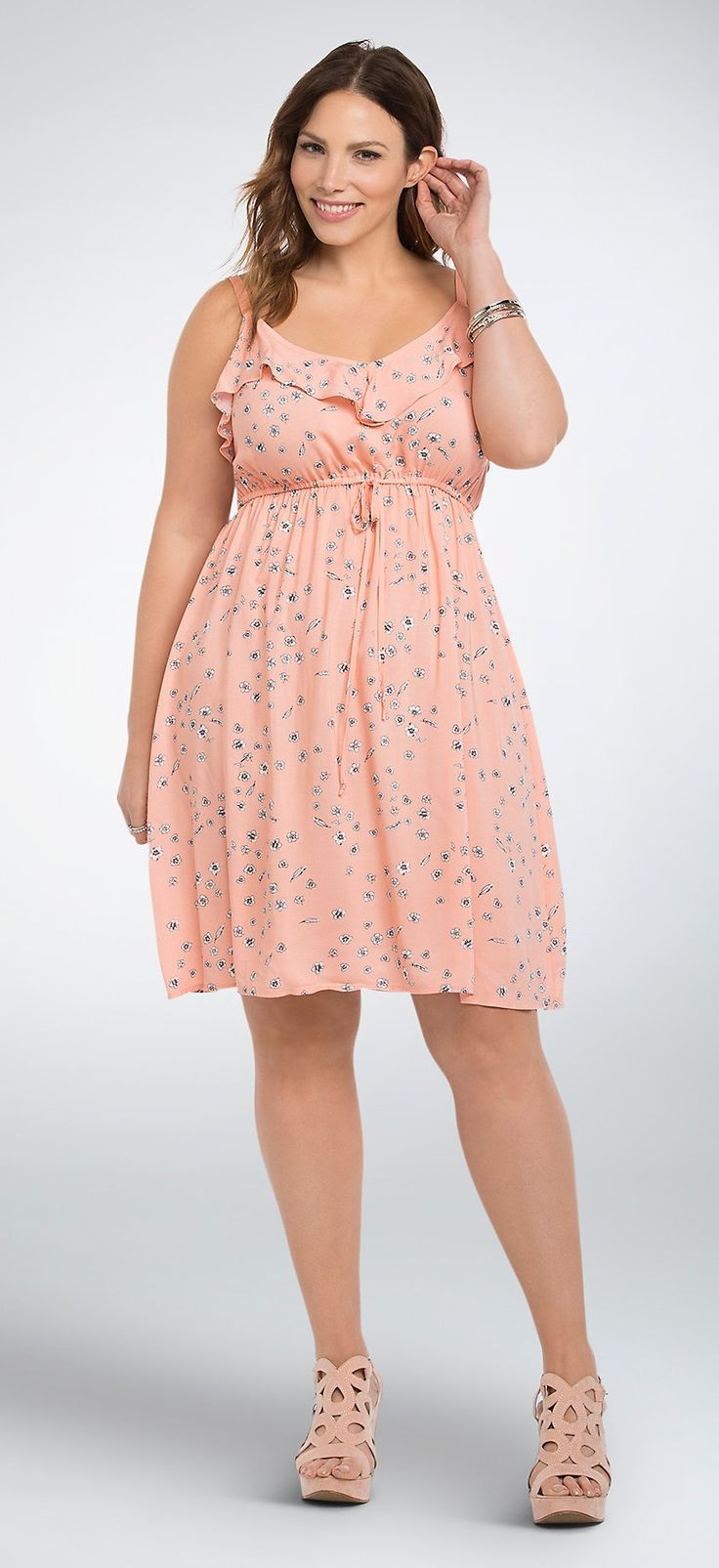 9f79a95510e Plus Size Floral Ruffled Challis Sundress