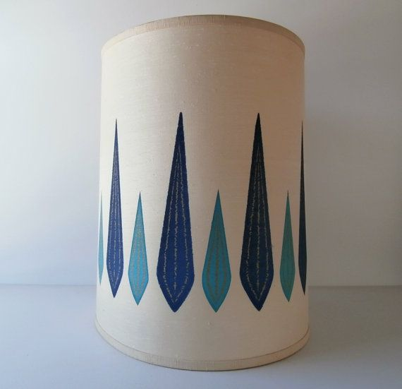 Mid Century Lamp Shades Prepossessing Large Drum Shade 1960S Lamp Shade Mid Centuryoldivystreet  Mid Design Ideas