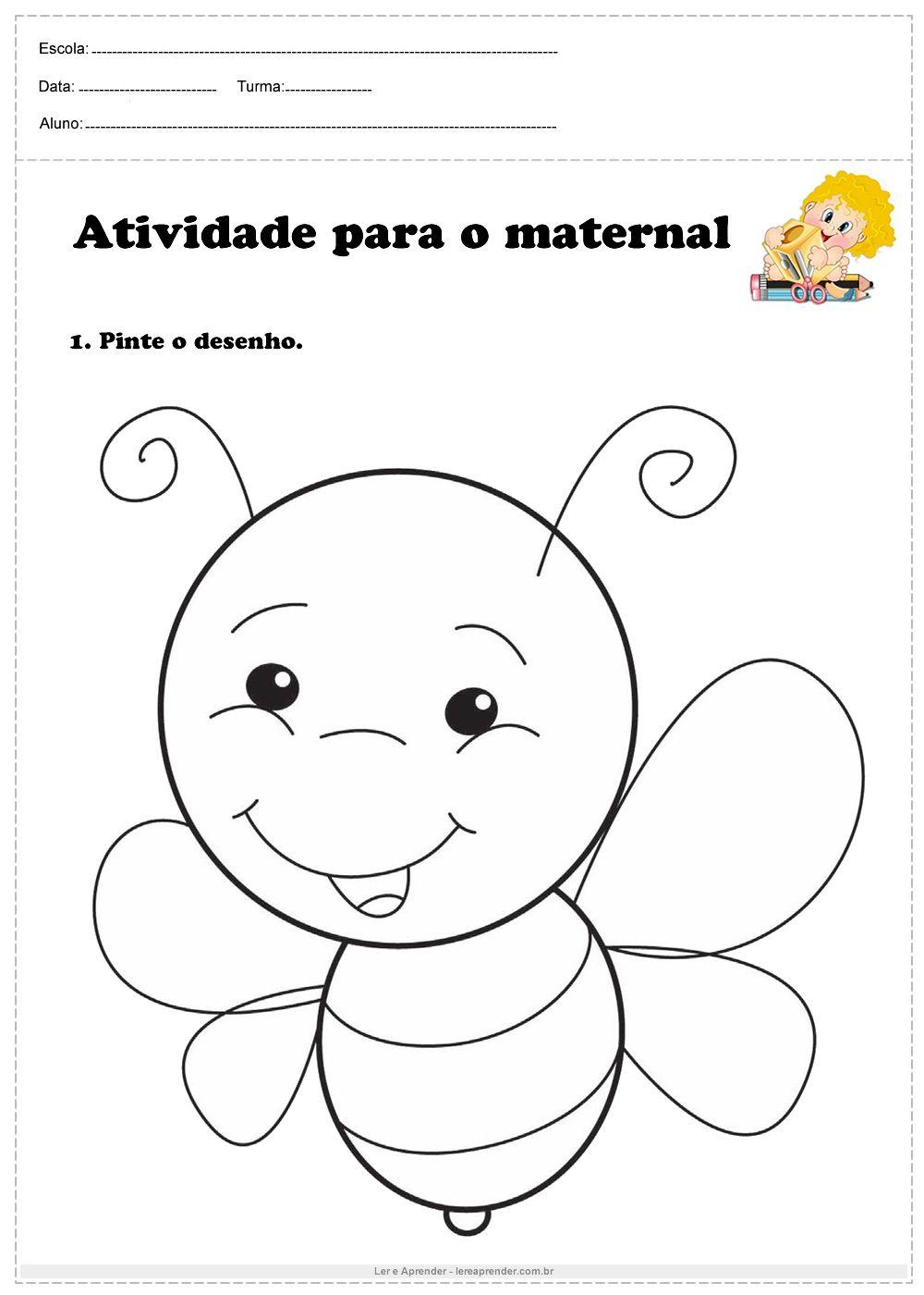 Atividade Para O Maternal Pinte O Desenho Atividades Para