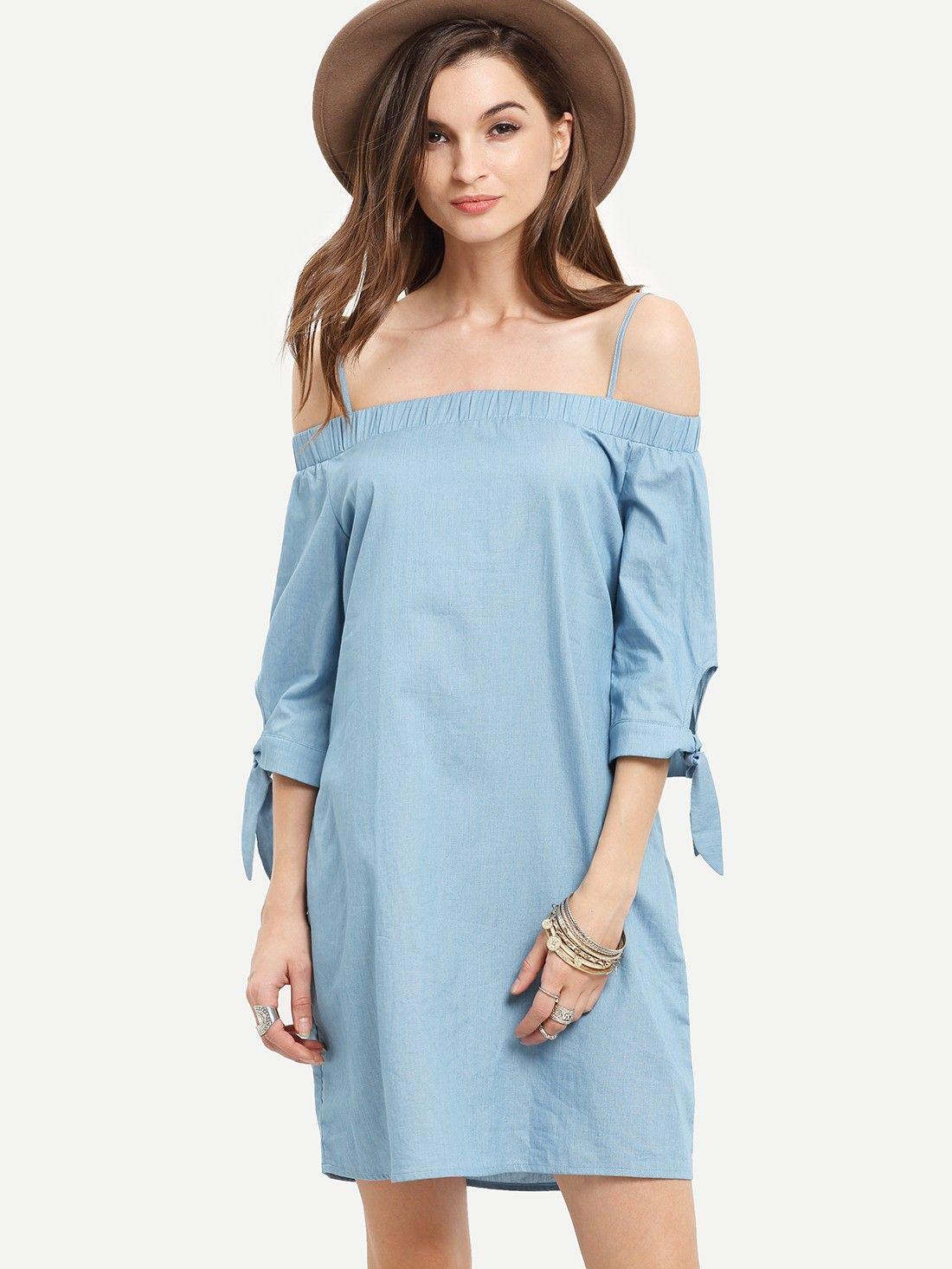 Schulterfrei Blau Kleid