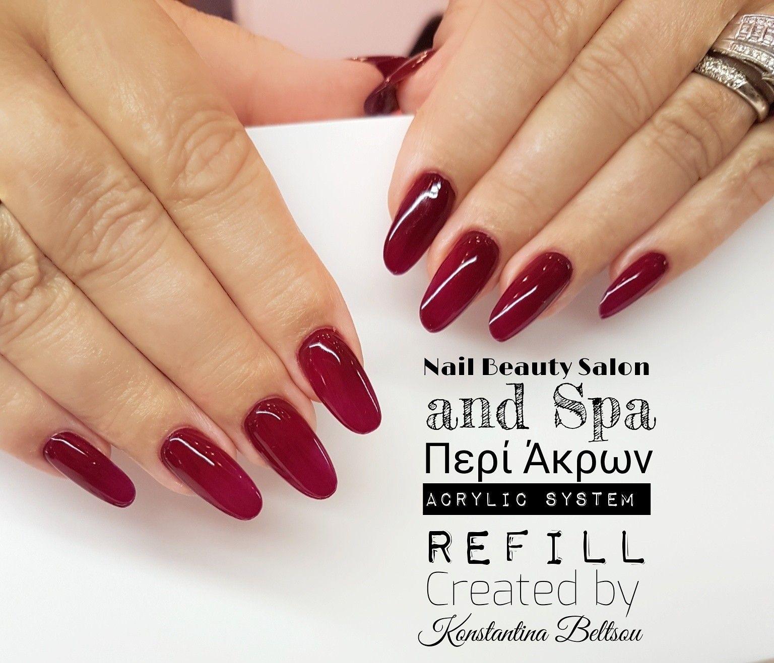 Long nails, Oval Shape nails, red nails, Acrylic nails | Nails by ...