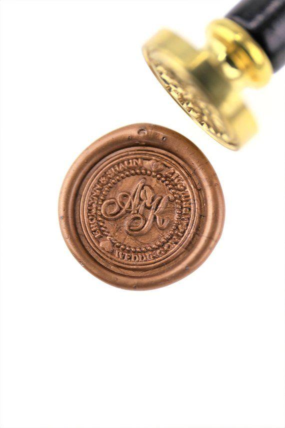 Personalized Initials with Flower Wax Seal StampCustom wedding sealswedding invitation sealcustom wedding stamp