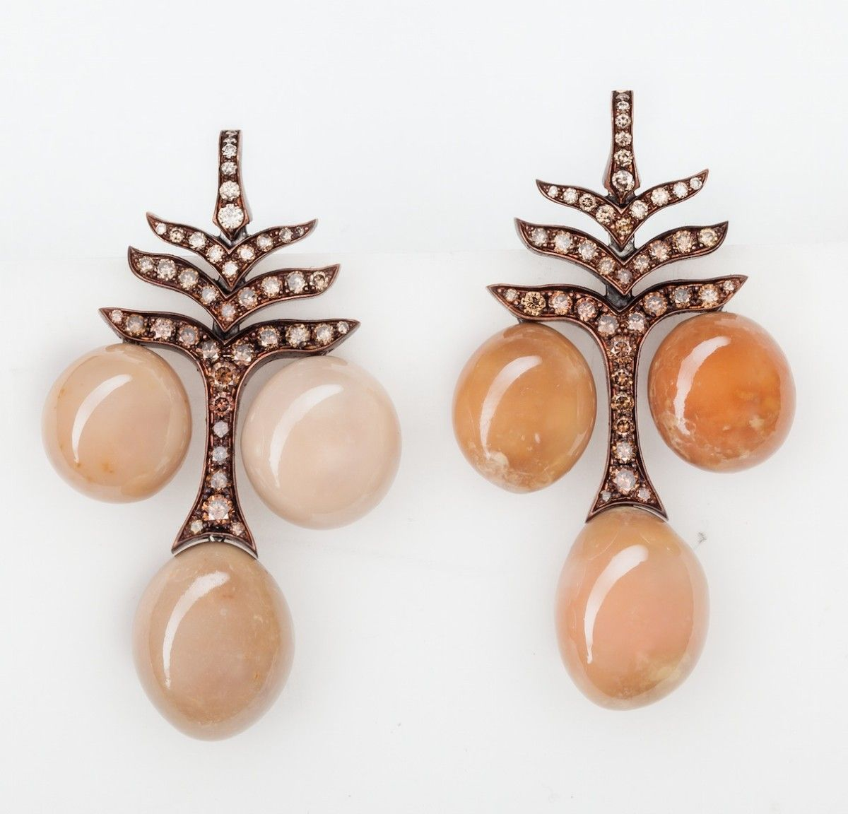 Conch Pearls, Diamonds, Copper And Rose Gold