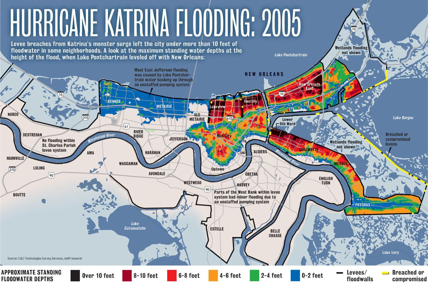 Hurricane Katrina New Orleans Map.Hurricane Katrina Flooding Compared To A 500 Year Storm Today