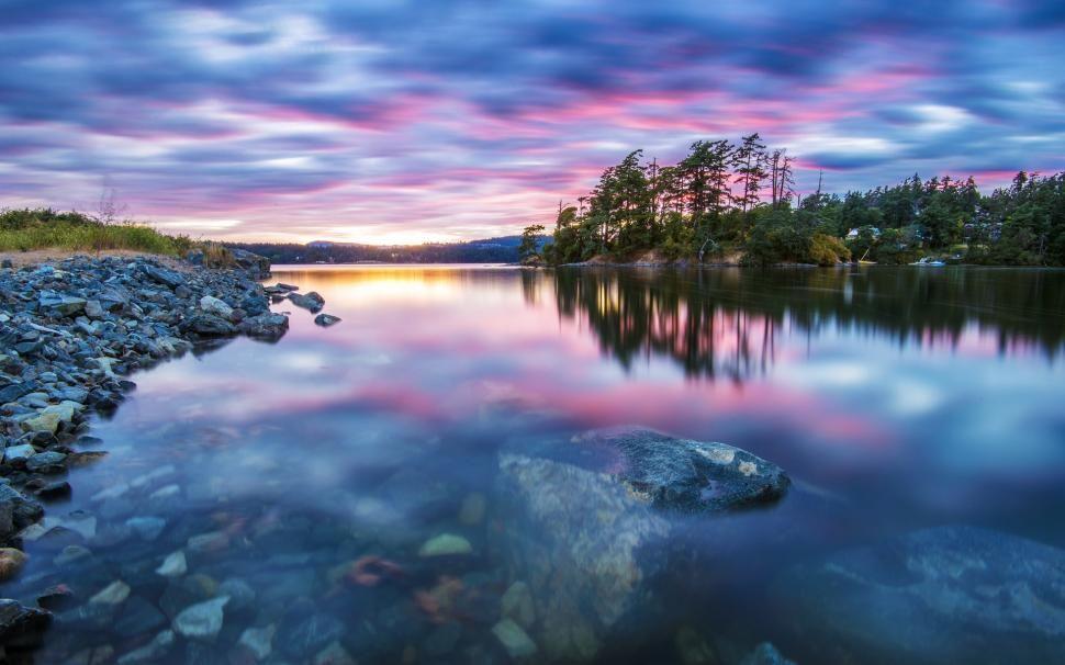 Nature Scenery Trees Lake Water Stones Sunset Tranquility Wallpaper Scenery Sunset Landscape Amazing Sunsets