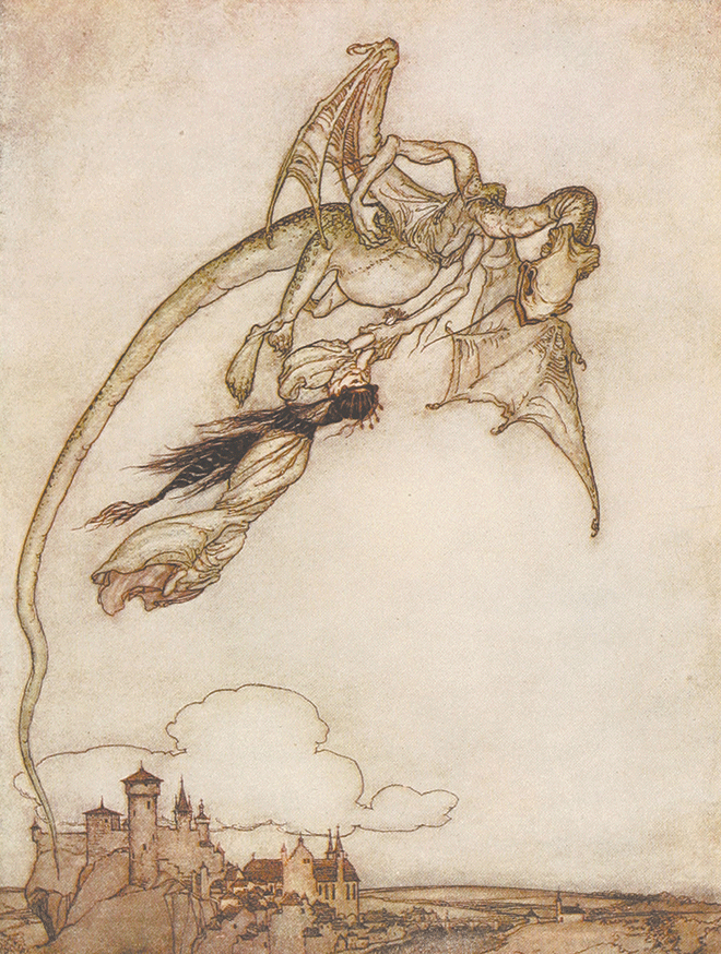From the tale The Four Clever Brothers. 'The King's only daughter had been carried off by a Dragon'. Illustration by Arthur Rackham from the book 'Snowdrop and Other Tales'