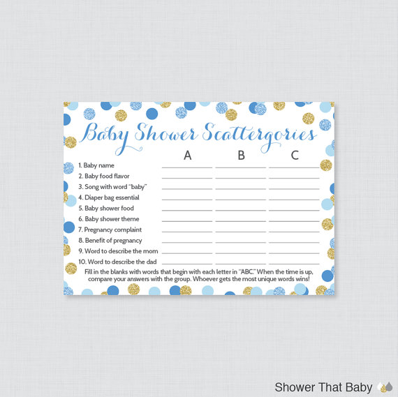 9c4b09b4f9697 Blue and Gold Baby Shower Scattergories Game - Printable Download ...