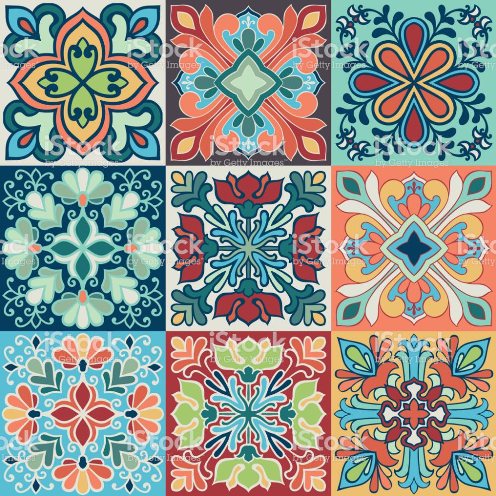 Seamless Vector Tile Pattern Colorful Lisbon Mediterranean Floral Tile Patterns Mosaic Patterns Turkish Pattern