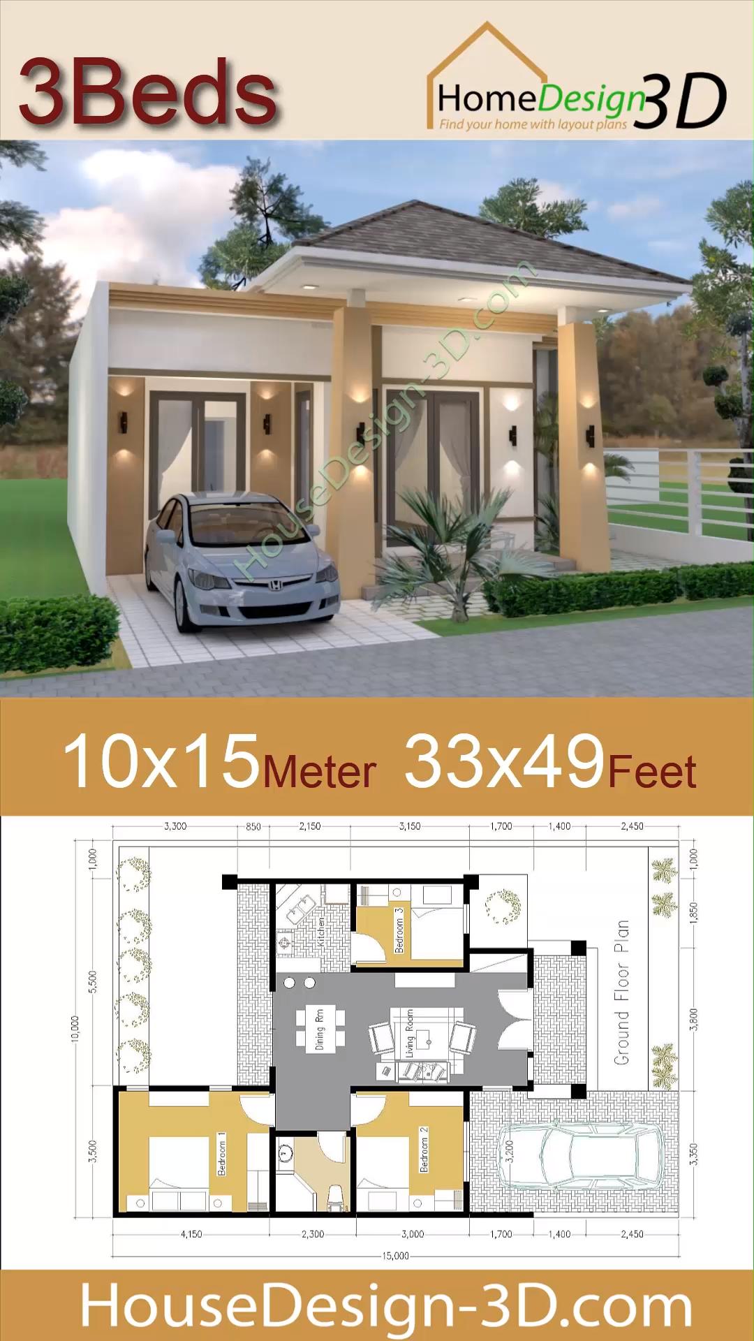 Video House Design 10x15 Meters 33x49 Feet With 3 Bedrooms Arsitektur Rumah Dekorasi Rumah Pedesaan Arsitektur