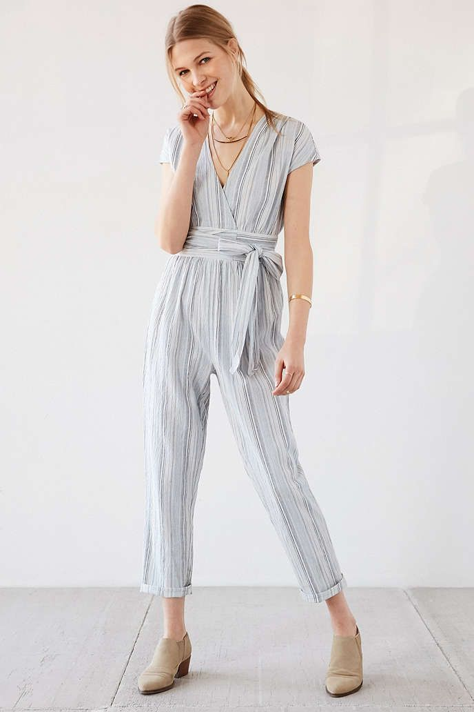 89047afe1ee Ecote Yarn-Dye Stripe Wrap Jumpsuit - Urban Outfitters