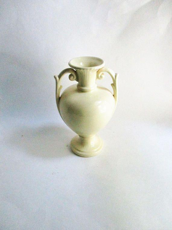 Vintage Vase Abingdon Pottery 1940s Cream Ornate Vase Pottery And
