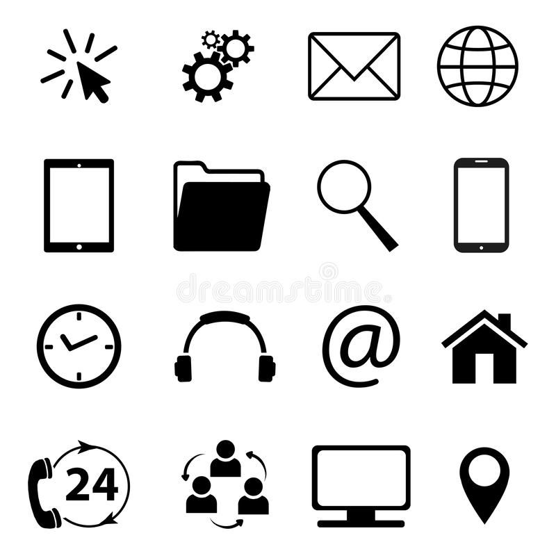 Collection of communication symbols. Contact, e-mail