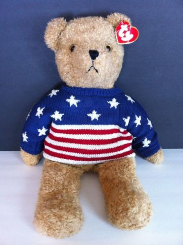 Ty Baby Curly Bear in Patriotic USA Sweater