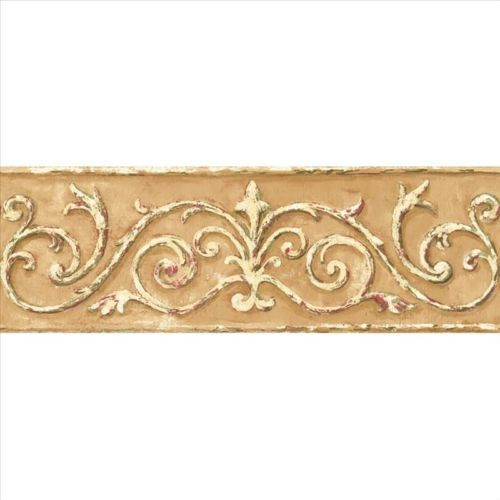 Acanthus Scroll Architectural Gold Wallpaper Border Hint Of Red Sm8478bd Wall Coverings Brown And Cream Wallpaper York Wallpaper
