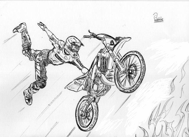 Image Dessin Freestyle C Un Blog Ou Il Y A De Tou Moto Moto Cross Skyrock Com Dessin Moto Moto Cross Dessin