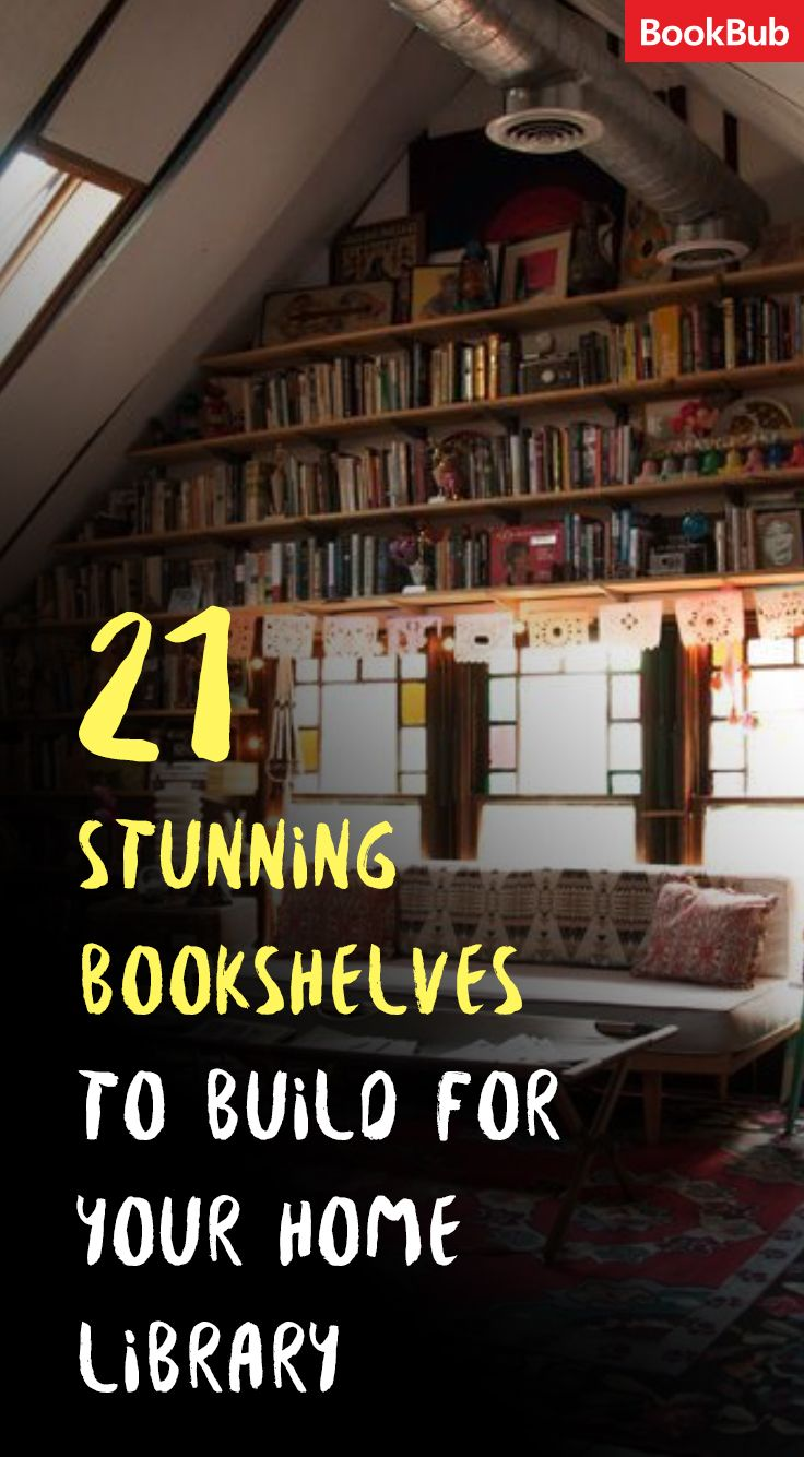 Gorgeous DIY bookshelf ideas you need to see for your living room -- this bookshelf makes good use of high ceilings in an A-frame home.