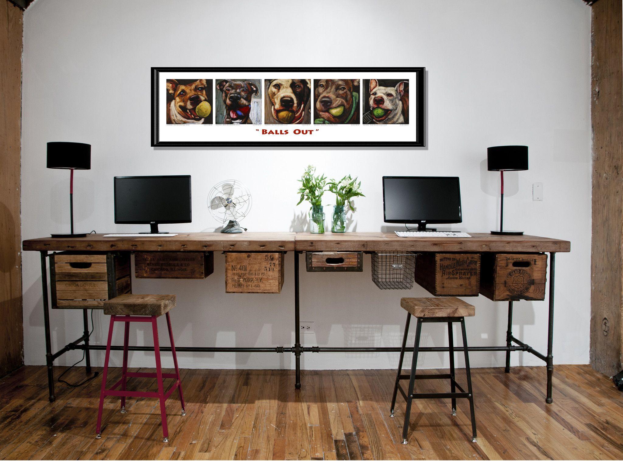 """Balls Out"" Giclée Dog Print Reclaimed wood desk, Home"