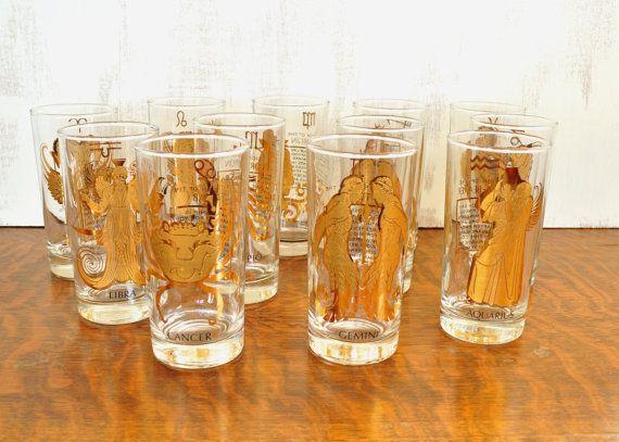 Vintage Zodiac Glasses Mid Century Glassware Set Astrology Vintage Barware Mid Century Glassware Vintage Barware Glassware Set