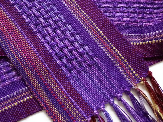handwoven deep amethyst  symphony scarf by masonke on Etsy, $52.00