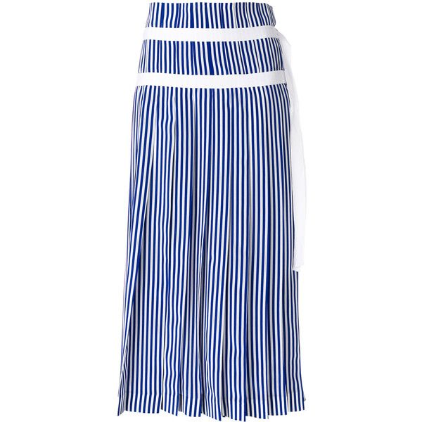 Joseph striped pleated skirt with double belt detail ($965) ❤ liked on Polyvore featuring skirts, blue, double-buckle belts, blue pleated skirt, blue striped skirt, striped pleated skirt and blue stripe skirt
