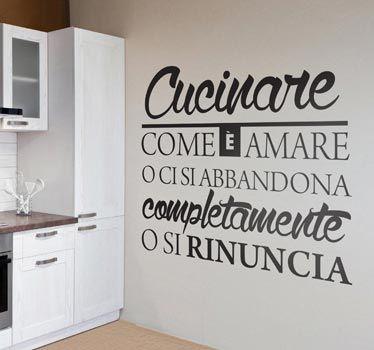 Adesivi da parete Regole della Cucina Wall Sticker Adesivo da Muro ...