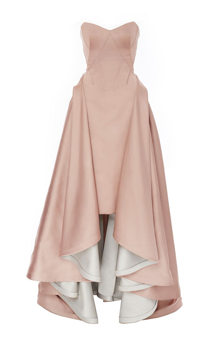 Double face duchess strapless gown by zac posen for preorder on moda