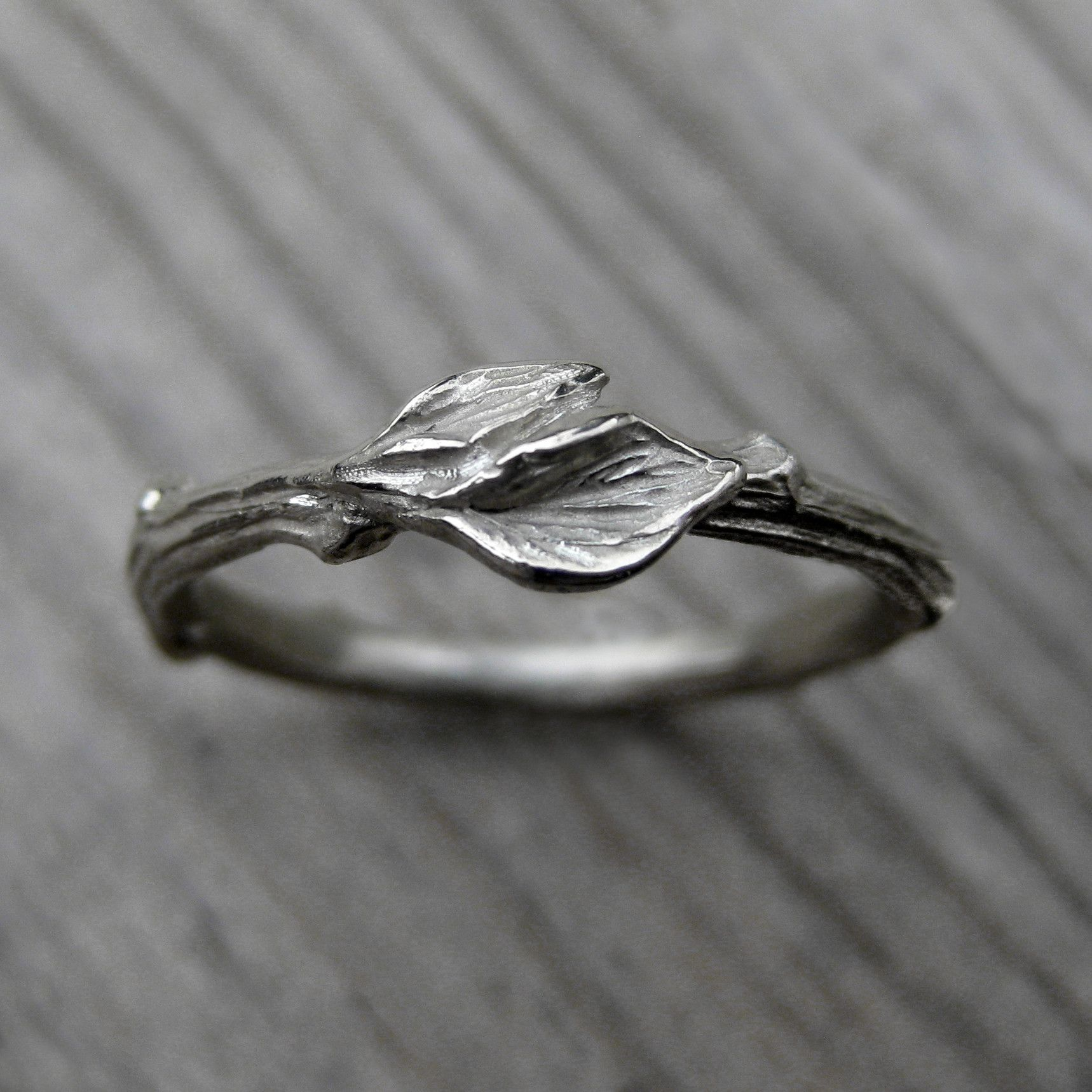 Twig with Leaves Wedding Band By Kristin Coffin Jewelry