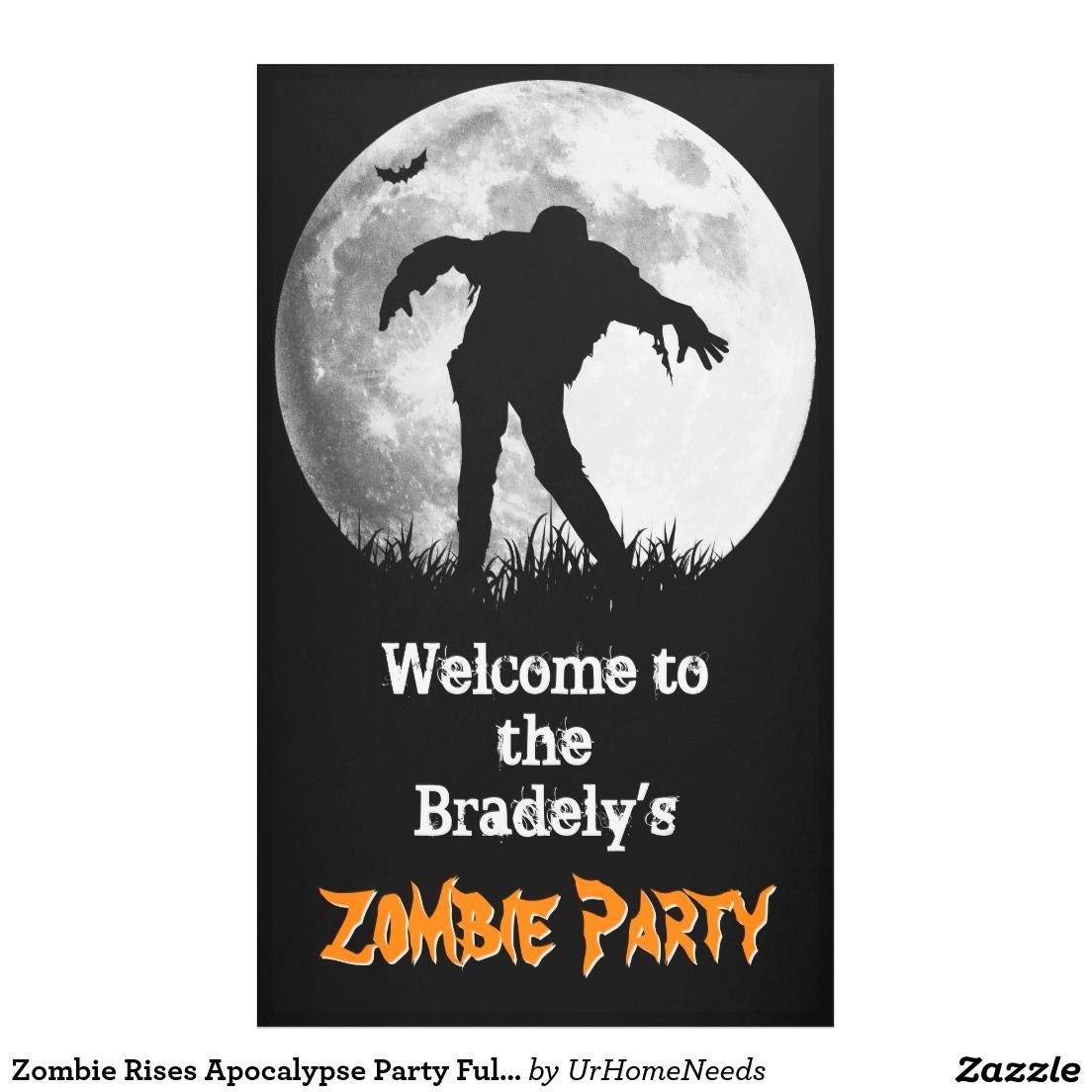 Zombie Rises Apocalypse Party Full Moon Halloween Banner   Zombies ...