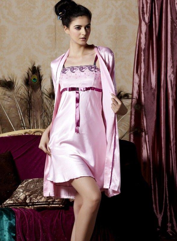 sleepwear+gown+robe+sets | Sleepwear butterfly belt Satin Chemise ...