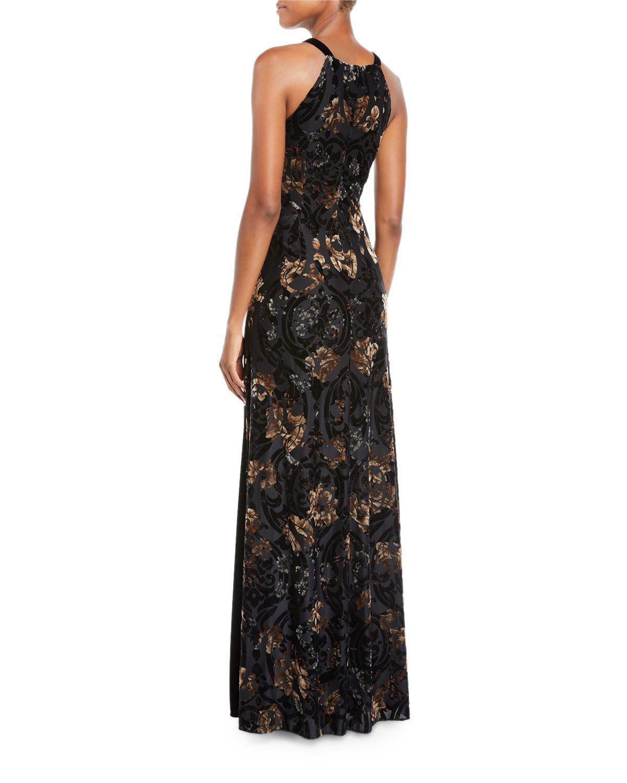 a065f4effa45 Aidan By Aidan Mattox Floral Velvet Halter Gown w  Slit