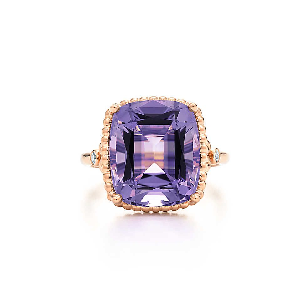 If only it was in platinum or white gold.  Tiffany & Co. - Tiffany Sparklers amethyst ring in 18k rose gold with diamonds.
