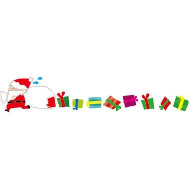 袋が破れてクリスマスプレゼントがコロコロと転がり落ちているのに気づかず急いで走っているあわてんぼうのサンタのライン素材です クリスマスの無料イラスト No は レッドとグリーンをモチーフで冬の季節12月に合った素材です クリスマス イラスト