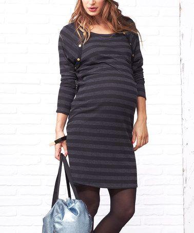Dark Gray Tasty Maternity Dress #zulily #zulilyfinds