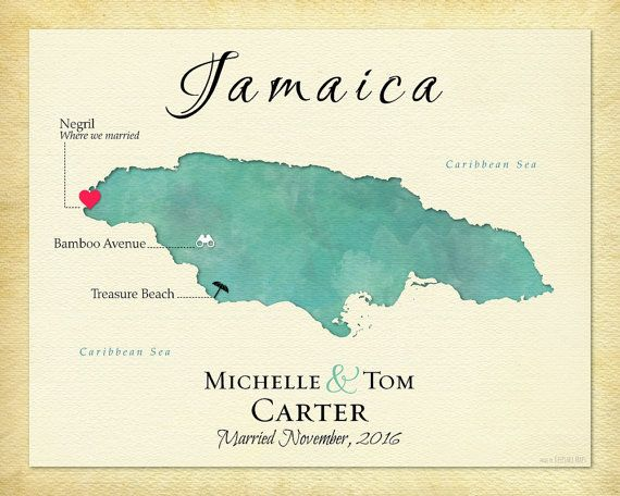 Jamaica Map Art Map Of Jamaica Personalized Map Destination
