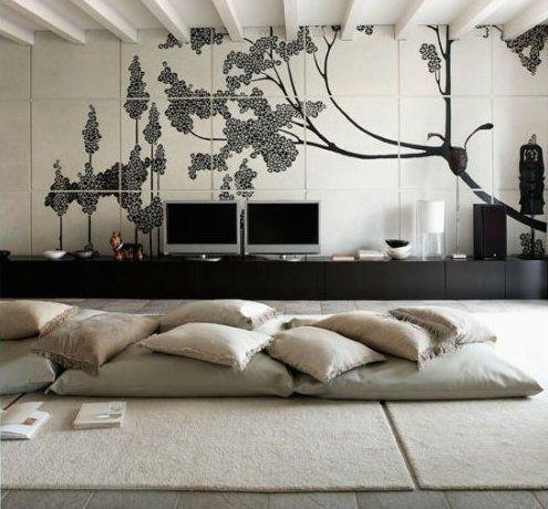 Stylische raumgestaltung mit bodenkissen livingroom for Raumgestaltung mit zimmerpflanzen