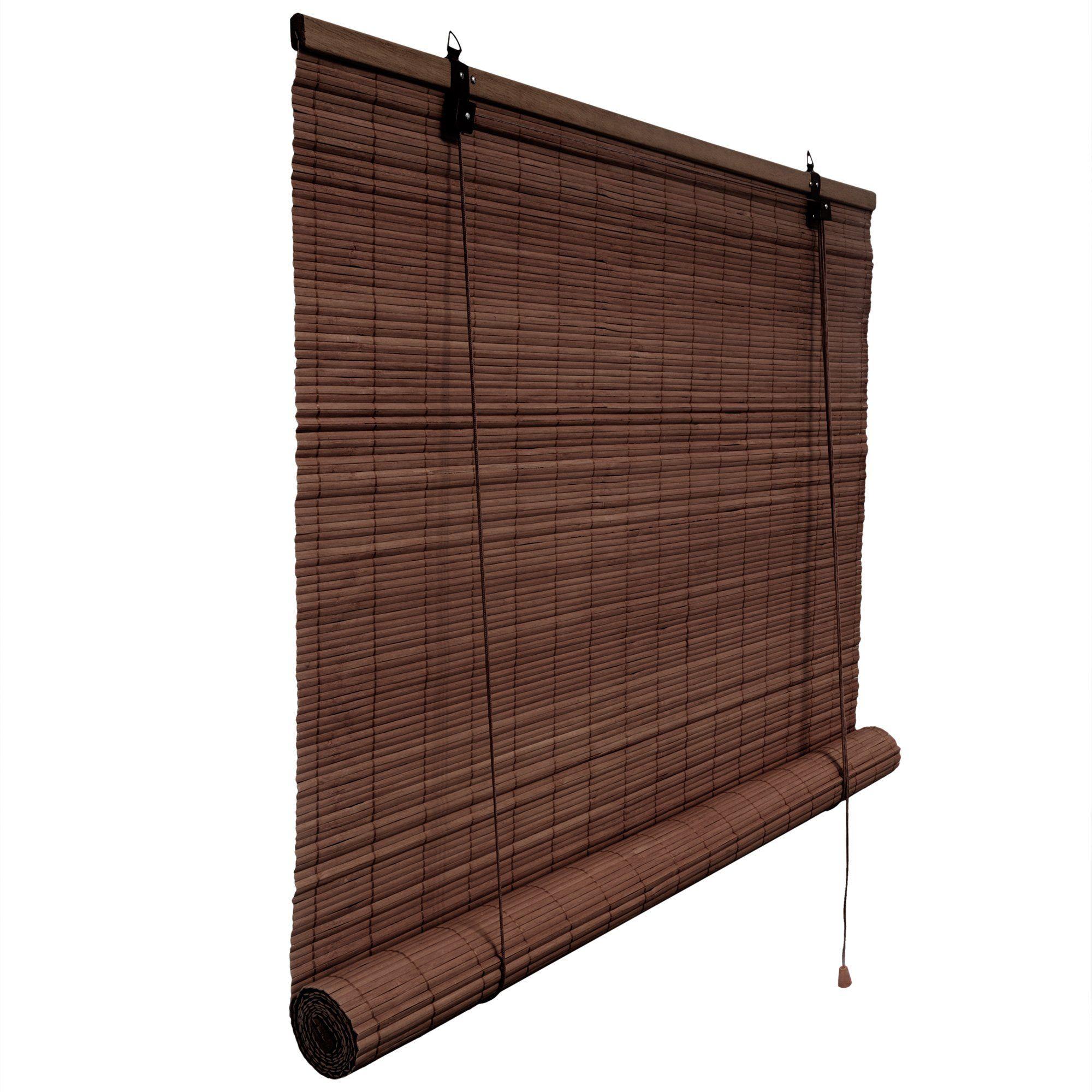 Bambusrollo 140 x 160 cm in dunkelbraun Fenster Sichtschutz