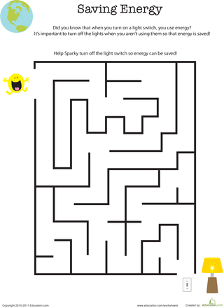 Eco-Friendly Maze: Saving Energy | Educational Worksheets | Maze ...
