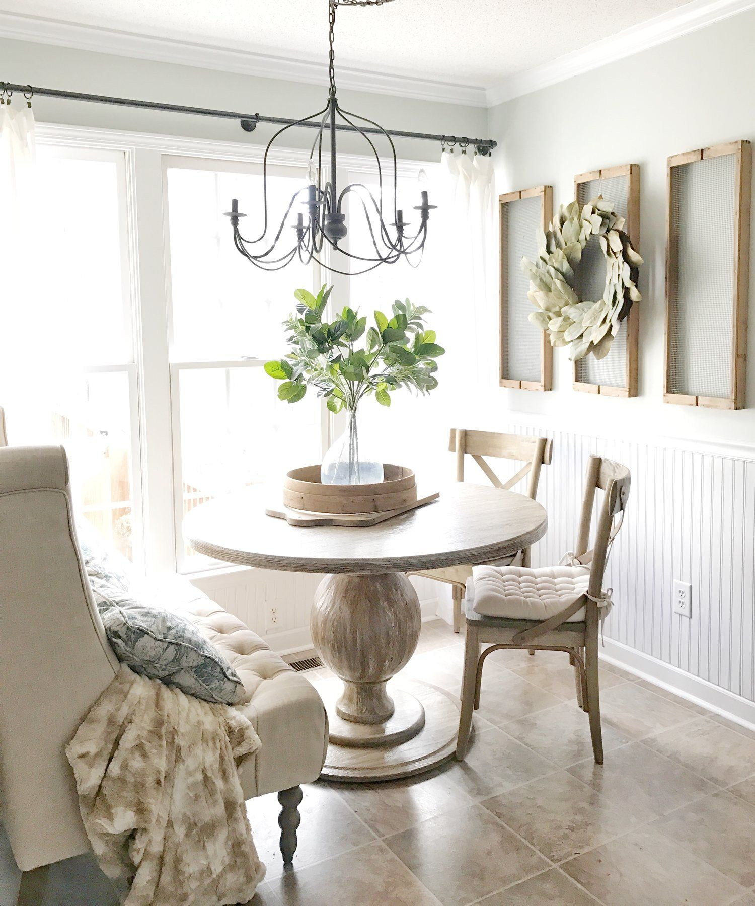 Home Tour- Farmhouse Style Breakfast Nook With Drying Rack