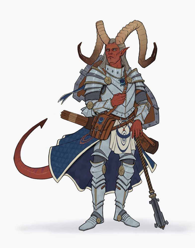 Tiefling Cleric who was a butler before his adventuring days