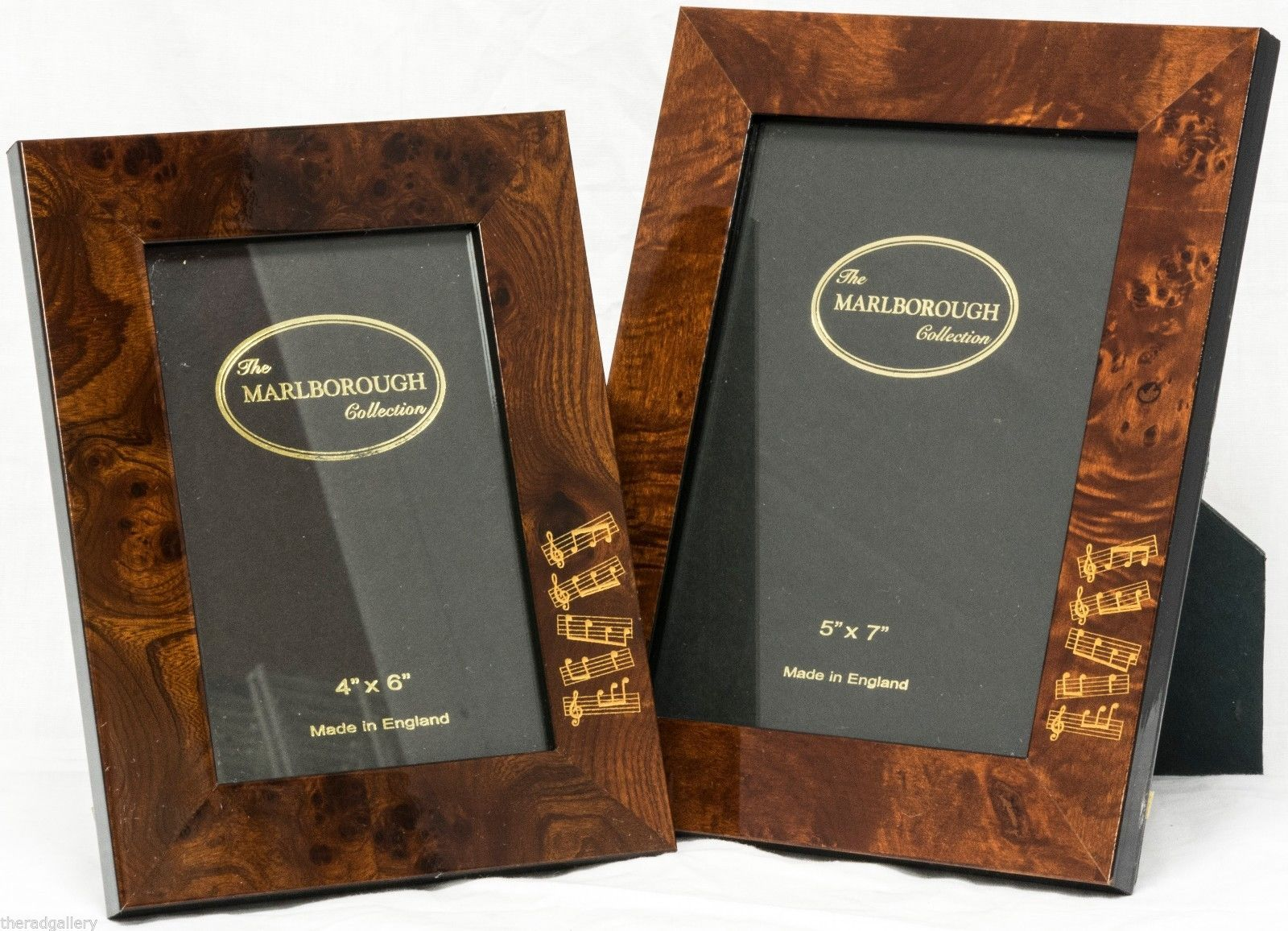 2 New Marlborough Collection Burl Wood Picture Photo Frames w Music Note Motif | eBay