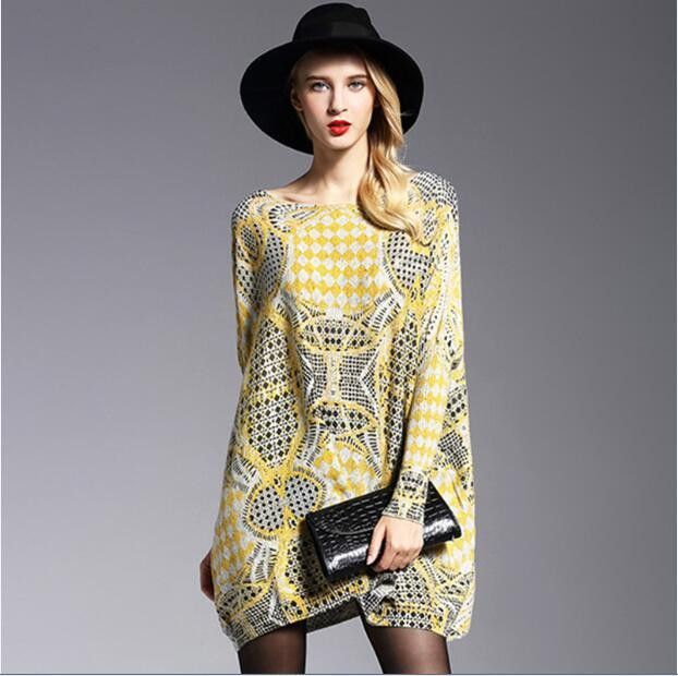 New Autumn Long Women Sweater Casual Coat Batwing Sleeve Print Women's Sweaters Clothes Pullovers Fashion Pullover Clothing