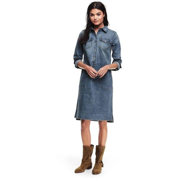 b5d05af0b7 Lands  End Women s Petite Long Sleeve Denim Shirt Dress ( 79) ❤ liked on  Polyvore featuring dresses