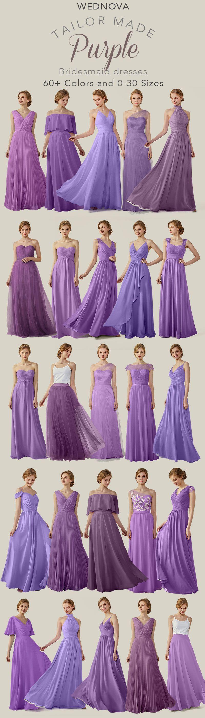 2018 fall color trendy bridesmaid dresses ombre purple