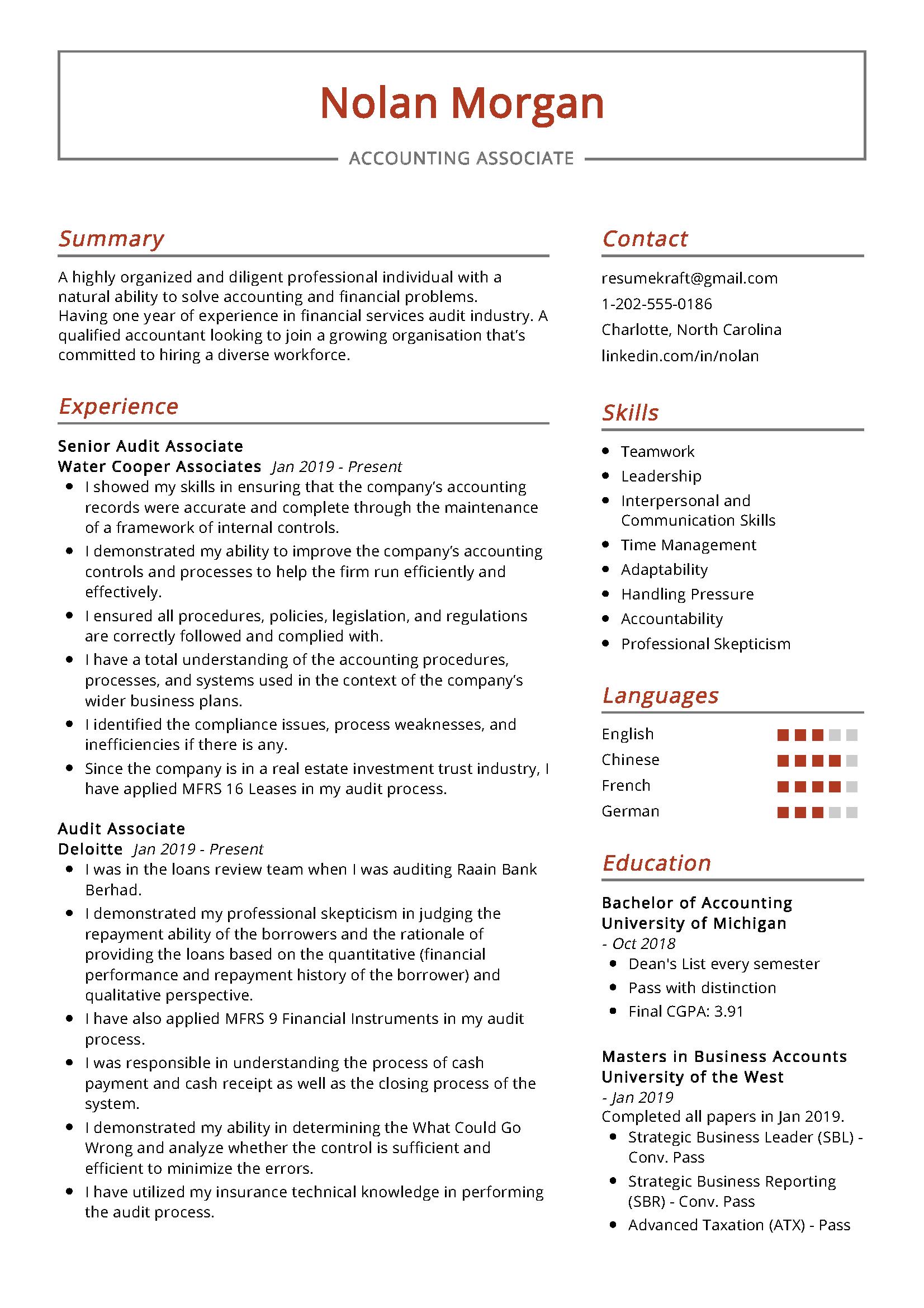 Associate Accounting Sample Resume Accountant Resume Professional Resume Samples Resume