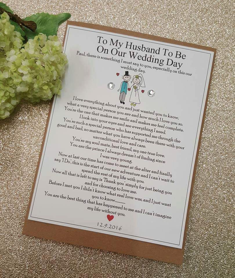 Groom future husband personalised wedding card on our